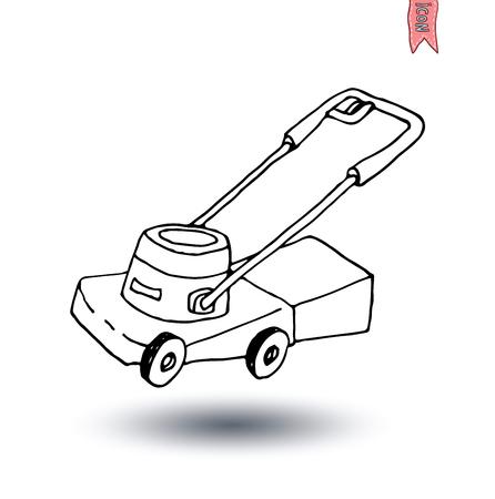mow: Lawn mower, vector illustration. Illustration