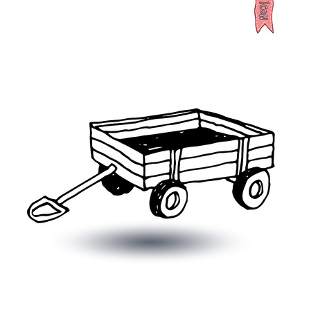 old time: vintage wooden cart isolated, vector illustration.
