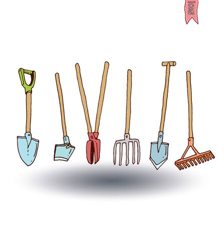 pruner: Gardening tools , vector illustration.