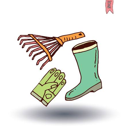 raking: Gardening tools , vector illustration.