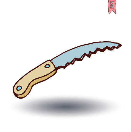 pruning: pruning saw, vector illustration.