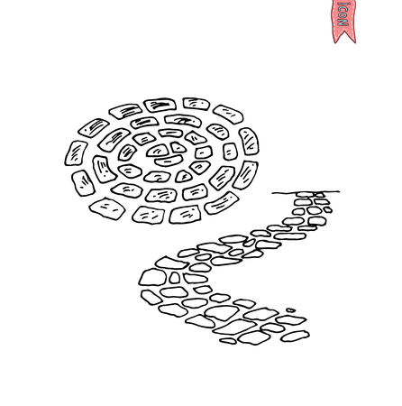 stone road in the garden, Walkway brick, vector illustration.