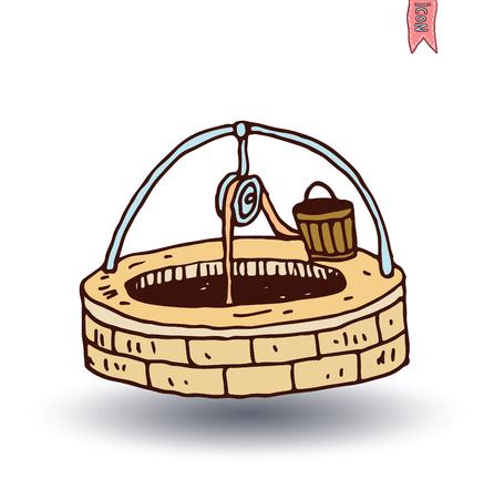 Water Well and Bucket, vector illustration. Ilustração