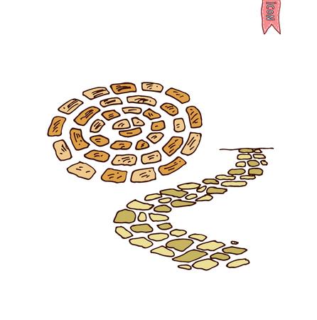 garden path: stone road in the garden, Walkway brick, vector illustration.
