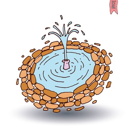lilypad: garden lake, vector illustration. Illustration