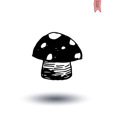 lithograph: Food icon mushroom, vector illustration.