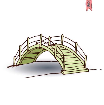 ponte giapponese: ponte ad arco in legno, illustrazione vettoriale. Vettoriali