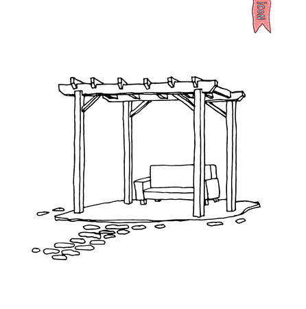 patio furniture: Wooden pergola, vector illustration.