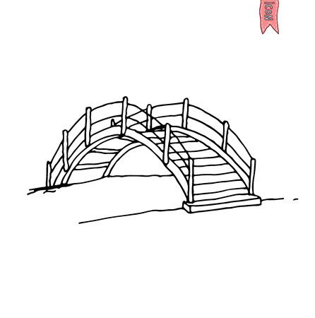 garden path: wooden arch bridge, vector illustration. Illustration