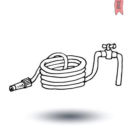 water hose: roll of water hose