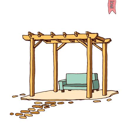 Wooden pergola, vector illustration.