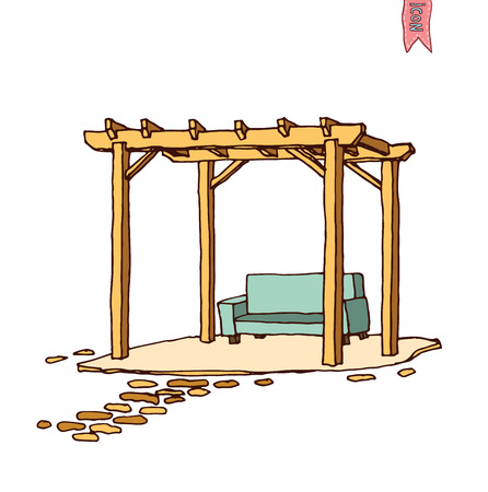 yard furniture: Wooden pergola, vector illustration.