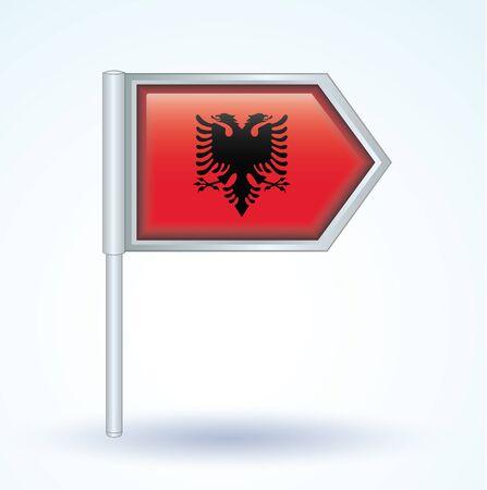 albanie: Drapeau de l'Albanie, illustration vectorielle