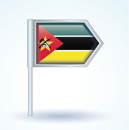 mozambique: Flag of Mozambique, vector illustration