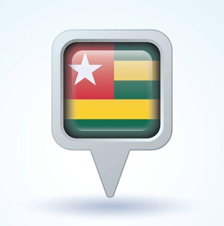 togo: Flag of Togo, vector illustration
