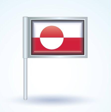greenland: Flag of Greenland, vector illustration