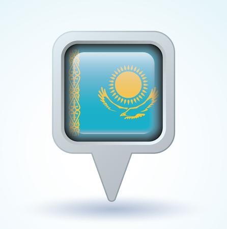 kazakhstan: Flag of Kazakhstan, vector illustration
