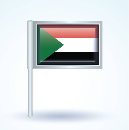 Sudan: Flag of Sudan, vector illustration