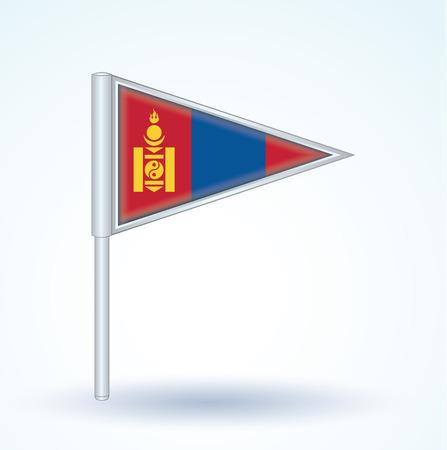 mongolia: Flag of Mongolia, vector illustration