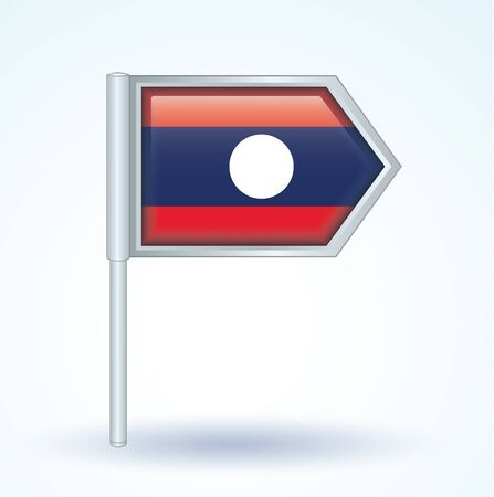 laos: Flag of Laos, icon collection, vector illustration