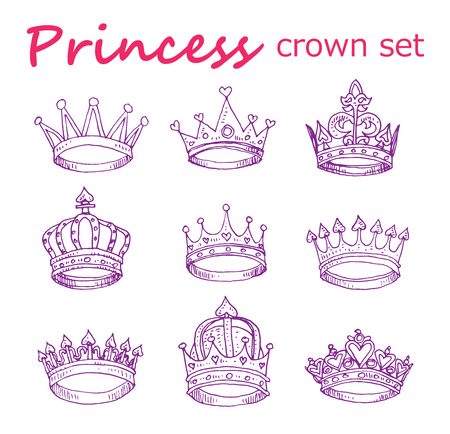 fairy tale princess: Princess crown set, hand drawn