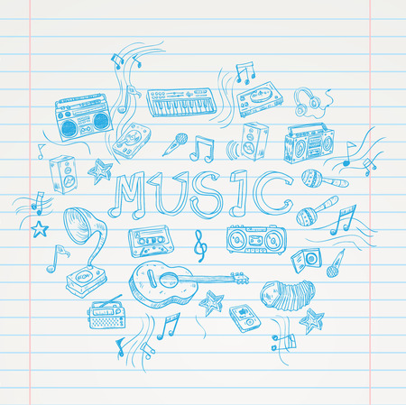 Music doodle collection, hand drawn illustration.