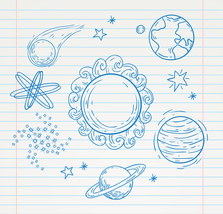 stars sky: planets Doodle, hand drawn vector illustration.