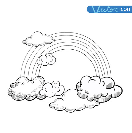 raindrop: Doodle Clouds and rainbow, Hand Drawn Vector