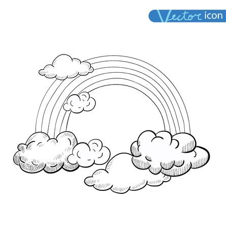 arco iris: Nubes Doodle y arco iris, vector dibujado a mano