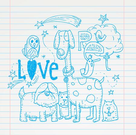 love card: mascotas tarjeta de amor, ilustraci�n vectorial. Vectores