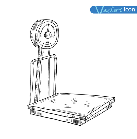weighing scale: scales icon. vector illustration. Illustration