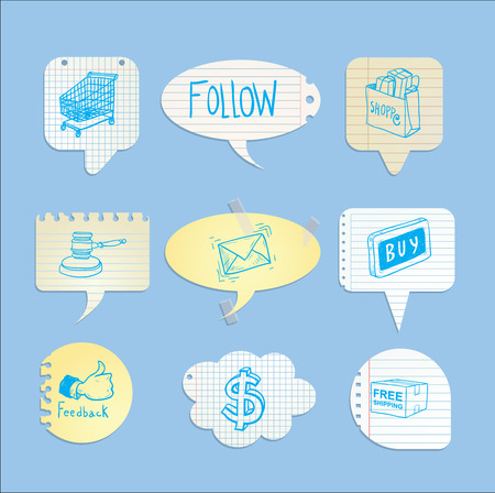 communicatio: speech bubbles, shopping, vector illustration.
