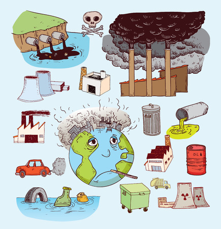 calentamiento global: Doodle de la Contaminación, Vector Vectores