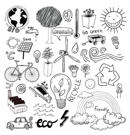 polution: Doodle set - ecoeco, vector illustration.