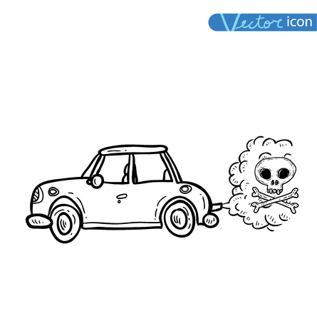 emitting: car emitting smoke, Vector Illustration