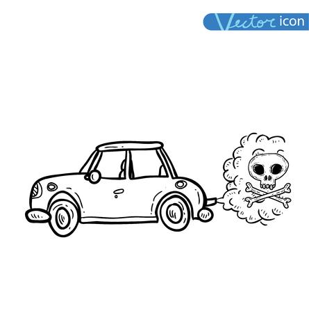 poison arrow: car emitting smoke, Vector Illustration