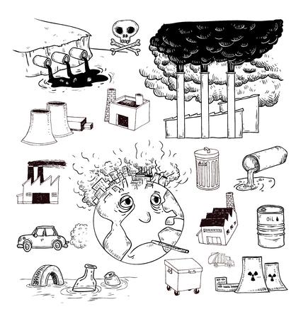 contaminacion del agua: Doodle de la Contaminación, Vector Vectores