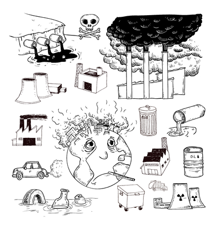 earth pollution: Pollution doodle, Vector