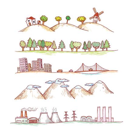 Vector illustratie van landschappen. Doodles hand getekende stijl.