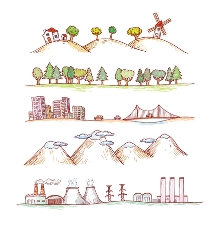 Vektor-Illustration von Landschaften. Doodles Hand gezeichnete Stil. Standard-Bild - 46526227