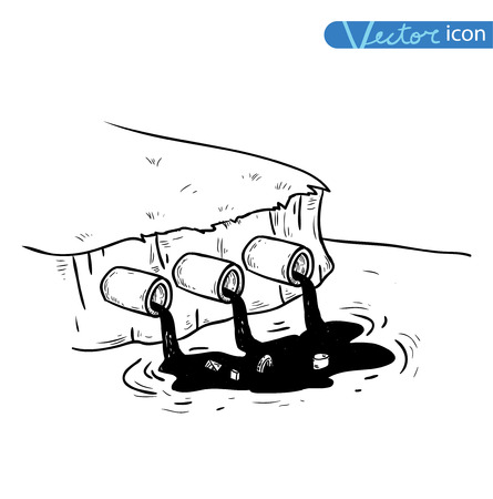 radiation pollution: water pollution, Vector Illustration