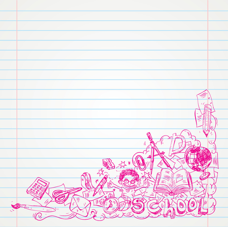 yearbook: Student Doodle on paper, Back to School Sketchbook Illustration.