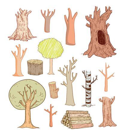 fertile: trees set, vector illustration.