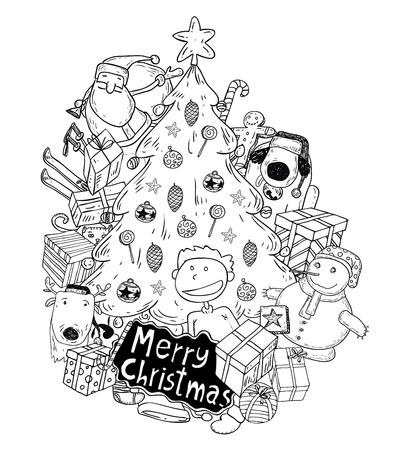 christmas tree illustration: christmas tree doodle. vector illustration.
