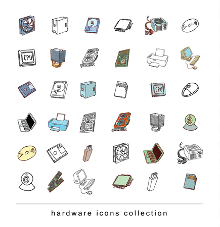 computer hardware: Computer Hardware Icons. PC Components.