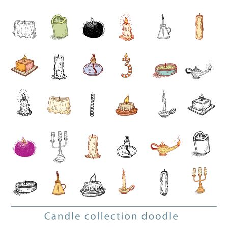 candleholder: collection of candles, candles icons, drawn vector illustration.