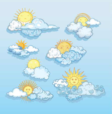 Sun with clouds Doodle Hand Drawn Collection.