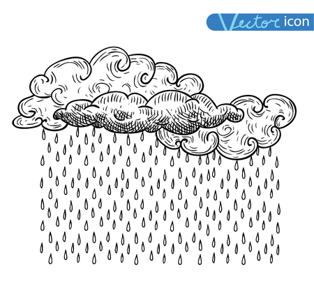 torrential rain: weather elements, vector illustration.