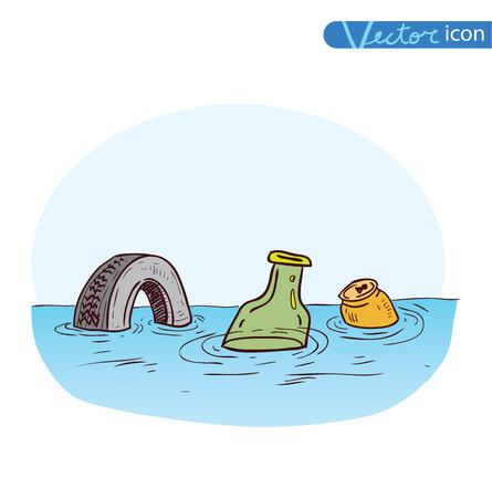 contaminacion ambiental: basura contaminando aguas, Vector Vectores