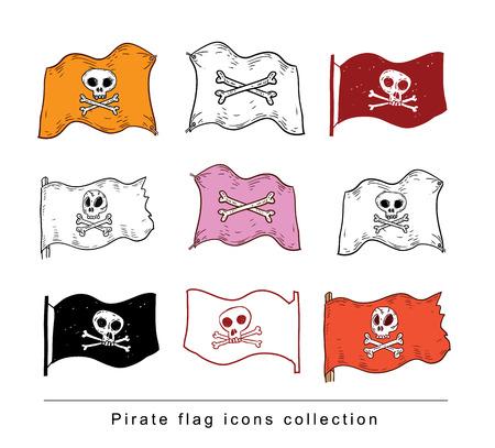 pirate flag: doodle pirate flag, vector illustration.